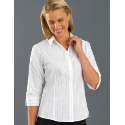 Womens 3/4 Sleeve Fine Stripe White - 106