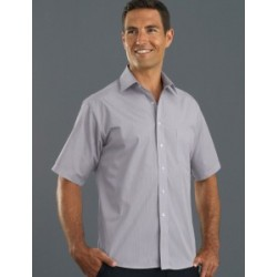 Mens Short Sleeve Pinfeather Stripe Grey - 219