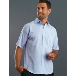 Mens Short Sleeve Mini Check Blue - 425
