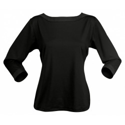 Ladies Argent 3/4 Sleeve Top Black - 1259Q