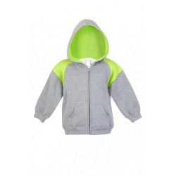 Kids Shoulder Contrast Panel Hoodies with Zipper - F335ZZ
