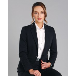 Ladies Wool Blend Stretch One Button Cropped Jacket - M9201