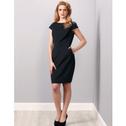 Ladies Wool Blend Stretch Cap Sleeve Dress - M9281