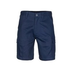 MIDDLE WEIGHT COTTON DOUBLE SLANT CARGO SHORTS WITH SHORTER LEG