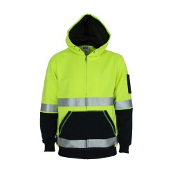 300gsm Hivis 2 tone full zip super fleecy hoodie with CSR R - tape - 3788