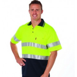 HiVis Two Tone Cotton Back Polos With Generic R/Tape S/S - 3717