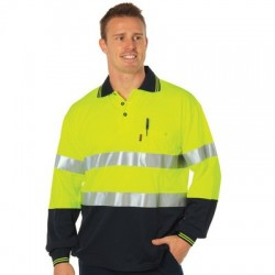 HiVis Two Tone Cotton Back Polos With Generic R/Tape L/S - 3718
