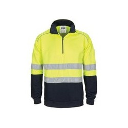 HiVis 1/2 Zip Fleecy w. Hoop Pattern Csr Reflective Tape - 3729