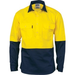 HiVis Two Tone Close Front Cotton Drill Shirt, L/S, Gusse