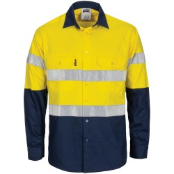 HiVis R/W Cool-Breeze T2 Vertical Vented Cotton Shirt With Gusset Sleeves, Generic R/Tape L/S - 3782