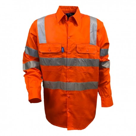 Shirt L-S Cotton Drill with VIC Rail Compliant Pattern TRu Perf Reflective Tape HORIZONTAL Cooling Vents - DS1166T4