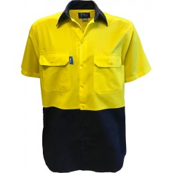 Shirt S-S Two Tone Cotton Drill with HORIZONTAL Cooling Vents - DS2165
