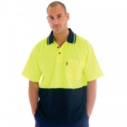 Cotton Back HiVis Two Tone Fluoro Polo Shirt, S/S - 3814