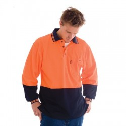 Cotton Back HiVis Two Tone Fluoro Polo Shirt, L/S - 3816