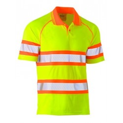 TAPED DOUBLE HI VIS MESH POLO SHORT SLEEVE - BK1223T