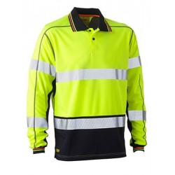 TAPED HI VIS POLYESTER MESH POLO LONG SLEEVE - BK6219T