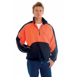 300gsm Polyester Cotton HiVis Two Tone 1/2 Zip Hi-Neck Panel Fle