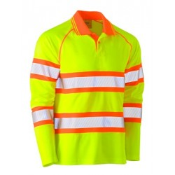 TAPED DOUBLE HI VIS MESH POLO LONG SLEEVE - BK6223T