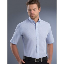 Mens Slim Fit Short Sleeve Mini Check - 825