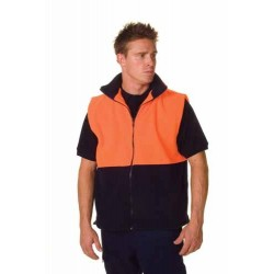 300gsm Polyester HiVis Two Tone Full Zip Polar Fleece Vest - 382