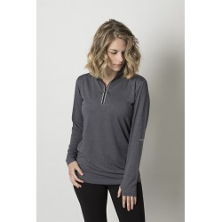 Ladies charcoal heather soft touch fabric long sleeve top - BKHZ450L