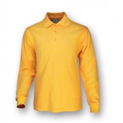 PLAIN COLOUR POLY FACE COTTON BACKING L/S POLO - CP1604