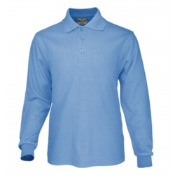 KIDS PLAIN COLOUR POLY FACE COTTON BACKING L/S POLO - CP1605