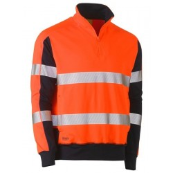 Taped Hi Vis Stretchy Fleece zip Pullover - BK6817T