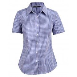 Ladies Two Tone Gingham Short Sleeve Shirt - M8320S