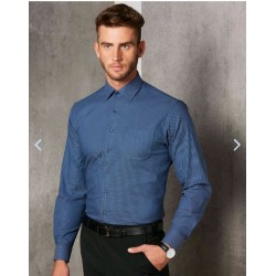 Mens Dot Jacquard Stretch Long Sleeve Ascot Shirt - M7400L