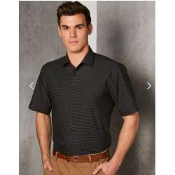 Mens Dot Jacquard Stretch Short Sleeve Ascot Shirt - M7400S
