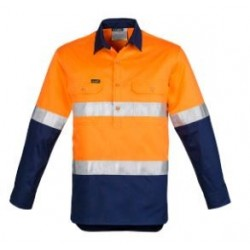 Mens Hi Vis Closed Front L/S Shirt - Hoop Taped - ZW550