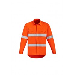 Mens Orange Flame Open Front Spliced Shirt - ZW145