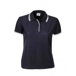 Pique Polo Striped Collar & Cuff, Ladies - P56