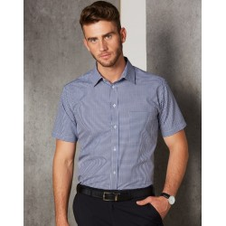 Mens Two Tone Gingham Short Sleeve Shirt - M7320S