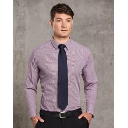 Mens Two Tone Mini Gingham Long Sleeve Shirt - M7340L