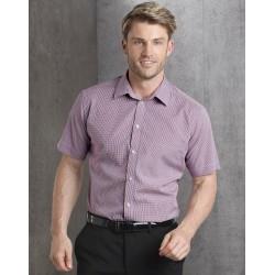 Mens Two Tone Mini Gingham Short Sleeve Shirt - M7340S
