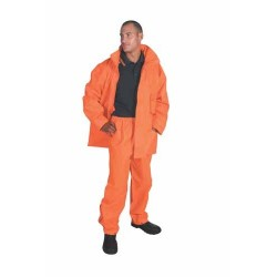 300D Polyester/PU HiVis Breathable Rain Jacket - 3873