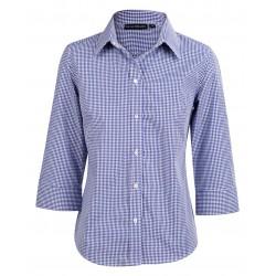 Ladies Two Tone Gingham 3/4 Sleeve Shirt - M8320Q