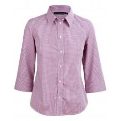 Ladies Two Tone Mini Gingham 3/4 Sleeve Shirt - M8340Q