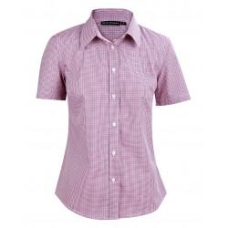 Ladies Two Tone Mini Gingham Short Sleeve Shirt - M8340S
