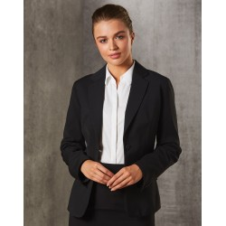 Ladies Poly/Viscose Stretch Stripe One Button Cropped Jacket - M9208