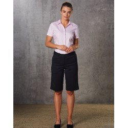 Ladies Poly/Viscose Stretch Knee Length Flexi Waist Shorts - M9441
