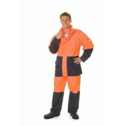 190D Polyester/PU HiVis Two Tone Light Weight Rain Jacket - 3877