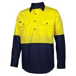 JB's HV CLOSE FRONT L/S 150G WORK SHIRT - 6HVCS