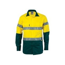 190gsm HiVis Two Tone Drill Shirt With Hoop Style 3M8910 R/Tape, L/S - 3836