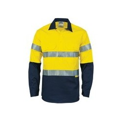 190gsm HiVis Two Tone Closed Front Cotton Drill Shirt - 3849