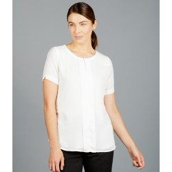 Womens Box Pleat Short Sleeve Soft Top - 1884WS