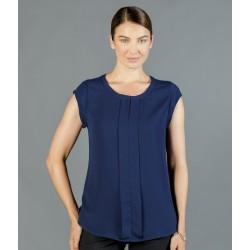 Womens Box Pleat Cap Sleeve Soft Top - 1886WS