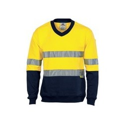 300gsm HiVis Two Tone Cotton Fleecy Sweat Shirt V-Neck with 3M R